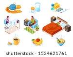 set of flu or influenza  cold... | Shutterstock .eps vector #1524621761