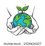 girls holding planet earth... | Shutterstock .eps vector #1524626327