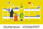 young female traveller standing ...   Shutterstock .eps vector #1524665957