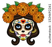 day of the dead woman sugar... | Shutterstock .eps vector #1524692261