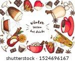 hot drinks for design. mulled... | Shutterstock .eps vector #1524696167