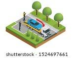 isometric tow truck  roadside...   Shutterstock .eps vector #1524697661