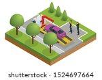 isometric tow truck  roadside... | Shutterstock .eps vector #1524697664