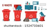 red recycle garbage bin for e... | Shutterstock .eps vector #1524733601
