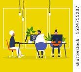 a diverse group of millennial... | Shutterstock .eps vector #1524755237