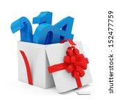 Opened Gift Box 2014 isolated on white background - stock photo