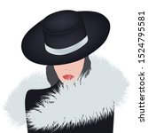 fashionable fur. lady in an... | Shutterstock .eps vector #1524795581