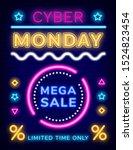 mega sale on cyber monday ... | Shutterstock .eps vector #1524823454
