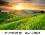 rice terraces with sunset...   Shutterstock . vector #152485805
