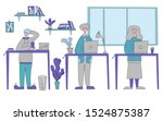 people standing at the desk and ... | Shutterstock .eps vector #1524875387