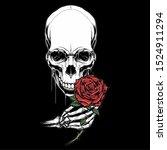 Skull Head Holding A Rose ...