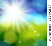 bright shining sun with lens... | Shutterstock .eps vector #152492837