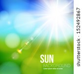 bright shining sun with lens... | Shutterstock .eps vector #152492867