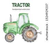 Watercolor Green Tractor...