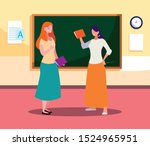female teachers couple with in... | Shutterstock .eps vector #1524965951