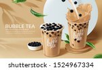 bubble milk tea ads with... | Shutterstock .eps vector #1524967334