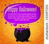 happy halloween cute retro... | Shutterstock .eps vector #152497241