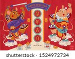 cute mice door gods floating on ... | Shutterstock .eps vector #1524972734