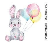 Cute Cartoon Grey Bunny With...