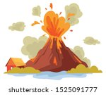 eruption of a volcano on the... | Shutterstock .eps vector #1525091777