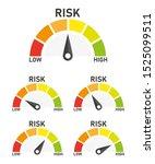 set risk speedometer icon or... | Shutterstock .eps vector #1525099511