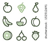 Fruits Icons  Green Line...