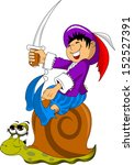 little boy with a sword riding...   Shutterstock .eps vector #152527391