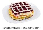 Stock photo layered salad herring under fur coat with mayonnaise sauce isolated over white background 1525342184