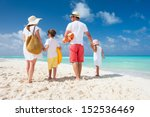 back view of a happy family on... | Shutterstock . vector #152536469