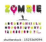 zombie halloween font. jelly... | Shutterstock .eps vector #1525369094
