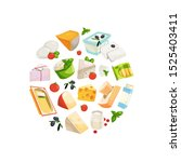 cartoon dairy and cheese...   Shutterstock . vector #1525403411