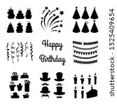 birthday set of silhouettes... | Shutterstock .eps vector #1525409654