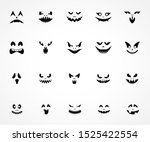 scary pumpkin faces silhouette. ... | Shutterstock .eps vector #1525422554