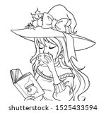 young witch is drinking coffee... | Shutterstock .eps vector #1525433594