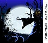 halloween background with... | Shutterstock .eps vector #1525450967