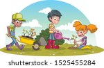 kids planting trees in a green... | Shutterstock .eps vector #1525455284
