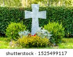 Large White Marble Cross On A...