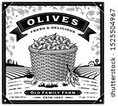 retro olive harvest label with... | Shutterstock . vector #1525504967