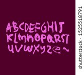 dry brush alphabet font set... | Shutterstock .eps vector #1525518791