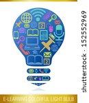 e learning colorful light bulb. | Shutterstock .eps vector #152552969