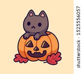 cute black cat in carved... | Shutterstock .eps vector #1525556057