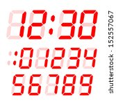 set of electronic digits. red... | Shutterstock .eps vector #152557067