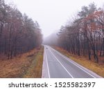 Autumn Highway Road Mist Foggy...