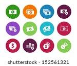 dollar banknote circle icons on ...