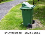 green trash can in the park | Shutterstock . vector #152561561