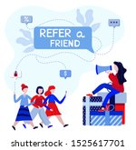 refer a friend concept. young...