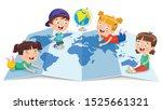 little school children studying ... | Shutterstock .eps vector #1525661321