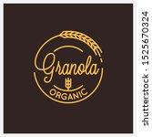 granola organic logo. round... | Shutterstock .eps vector #1525670324