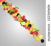 waterfall of fruit and berries...   Shutterstock . vector #152569604