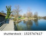 Small wooden dock on the lake in this beautiful little Swiss village that calls Risch In Switzerland.